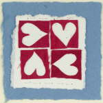 Four Hearts Blue valentines card